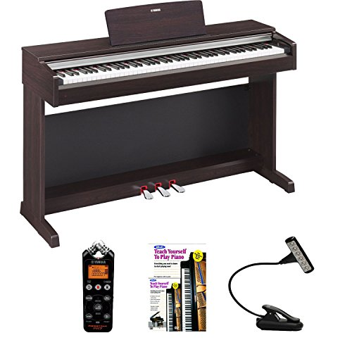 Yamaha Ydp142R Arius Series Traditional Console Digital Piano With Bench (Dark Rosewood) + Pocket Recorder + Bench Light + Piano Book
