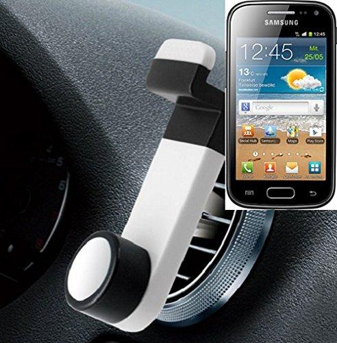 Universell einsetzbare Smartphone Halterung / Autohalterung / Lüftungshalterung für das Samsung Galaxy Ace 2. Weiß. Handy Halter für das Lüftungsgitter verwendbar mit Smartphones und Tablets von 5,2 cm - 9,4 cm Breite. Smartphonehalterung Handyhalterung Autohalterung Lüftung Lüftungsgitter Air Vent mount Halterung Lüftungsschlitz, Versand aus Deutschland innerhalb eines Werktages