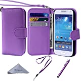 S4 Mini Case, Wisdompro® Premium PU Leather 2-in-1 Protective [Folio Flip Wallet] Case with Credit Card Holder/Slots and Wrist Lanyard for Samsung Galaxy S4 Mini (NOT S4 FIT) - Purple
