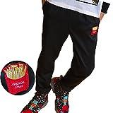 DUSTSTROKE ( ダストストローク ) ポテト ロゴ ワッペン テーパード パンツ ( 小さい サイズ も ) トレンド シルエット S M L 黒 ブラック ストリート カジュアル きれいめ ロック パンツ ズボン (ポテト M)