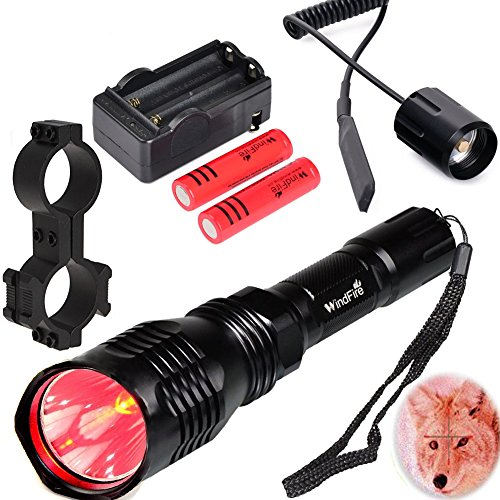WindFire WF802 350 lumens Red Light Hunting Kit Waterproof 250 Yard Cree LED Coyote Hog Fox Predator Varmint Flashlight with
