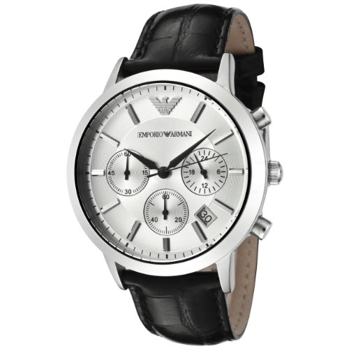 Emporio Armani Men's AR2436 Chronograph Silver Dial Stainless Steel Watch