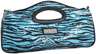 Hadaki Leopard-Print Clutch,Leopard Aqua,one size