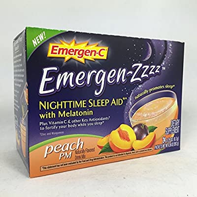 Emergen-C Emergen-zzzz Nighttime Sleep Aid with Melatonin, Peach 24 ea Pack of 3