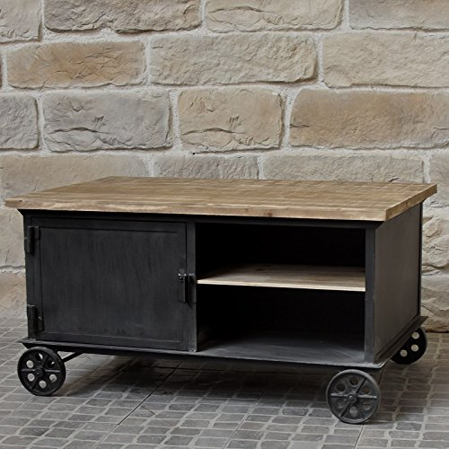 Tavolino basso da salotto a rotelle Legno Ferro industriale Campagna 104x 69cm