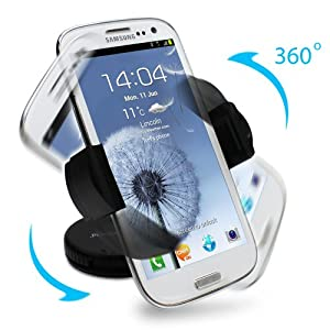 GreatShield Windshield Dashboard Universal Smart Holster Car Mount for Cell Phones and GPS Devices - Works with iPhone 5 iPhone 4/4S Samsung Galaxy S3 S III Galaxy Note 2 II Epic 4G Touch HTC One X V S Droid Incredible EVO 4G LTE Rezound Motorola Photon Q