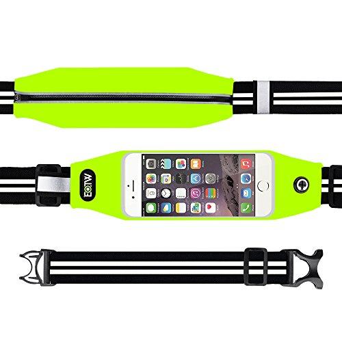 Running Belt Waist Pack, EOTW Outdoor Sweatproof Reflective Belt Waist Bag for iPhone 6S / 6, Transparent Touch Screen Window, Universal Sports Waist Belt with Additional Extender (GREEN 4.7 INCH) (Runner Waist Pack compare prices)