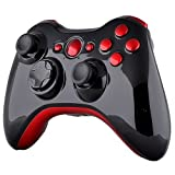 Xbox 360 Wireless Controller - Polished Piano Black with Red Buttons