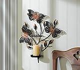 Bronze Butterfly Metal Art Sculpture Hurricane Wall Sconce Votive Candle Holder