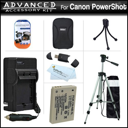 Advanced Accessories Kit For Canon PowerShot SX210IS SX210 IS Digital Camera Includes Extended Replacement (1200 maH) NB-5L Battery + AC/DC Travel Charger + Hard Case + 50 Tripod + USB 2.0 SD Card Readers + Screen Protectors + MicroFiber Cloth + More
