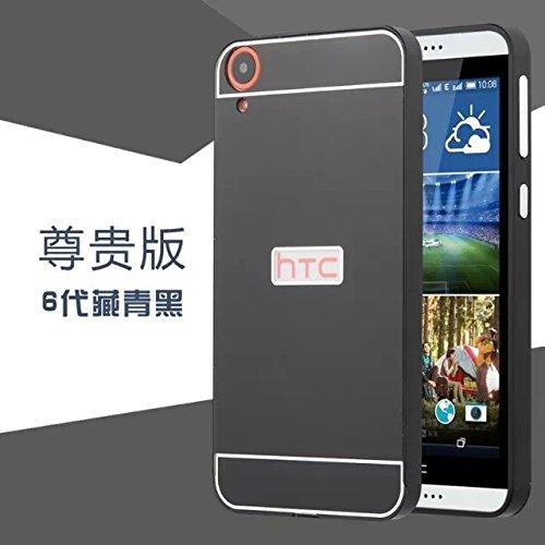 OnlineeMarket Luxury Aluminium Metal Frame+Acrylic Back Cover Case Bumper For HTC DESIRE 820 - Black & Grey