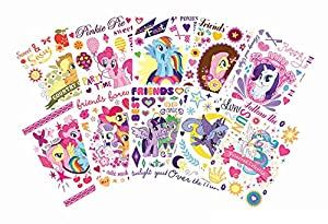 My Little Pony Friendship Magic Temporary Tattoo Set (Complete Set of 10) - Includes Pinkie Pie, Rainbow Dash, Applejack, Fluttershy, Rarity, Twilight Sparkle, Luna and Princess Celestia