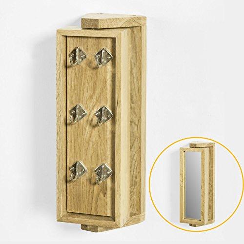 SoBuy® Portachiavi da parete, mensole da bagno,Specchiera con anta,quercia,FRG103-N,IT