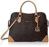 Calvin Klein Monogram Satchel Top Handle Bag,Brown/Khaki/Camel,One Size
