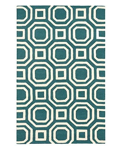 Handmade Kasbah Wool Rug, Cream/Obscure Dull Teal, 5' x 8'
