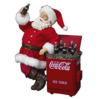 Coca-Cola Kurt Adler Fabriche Santa Cooler Table Piece, 11-Inch