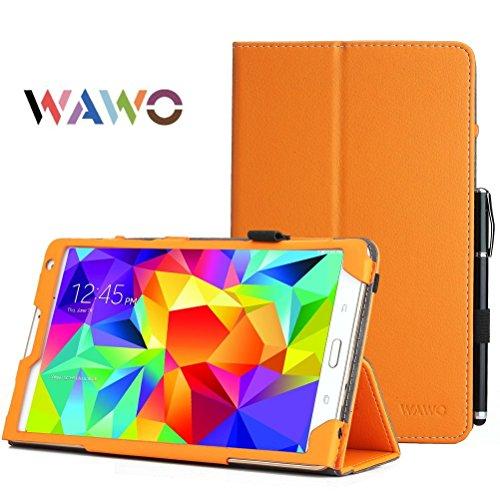 Samsung Galaxy Tab S 8.4 Case - Wawo Premium Pu Leather Folio Case For Samsung Galaxy Tab S 8.4 Inch Android Tablet(With Smart Cover Auto Wake / Sleep) Orange front-996715