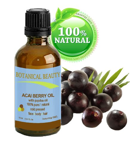 "Acai Berry Oil 100% Pure / Natural / Cold Pressed. For Face, Body And Hair. (10Ml / 0.33 Fl.Oz.) From Amazon Rainforest. ""Number One Superfood For The Skin And Hair."""