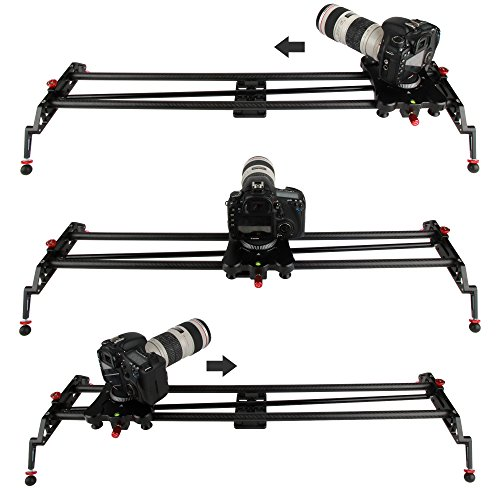 VILTROX GP-80Q 32 Inch/ 80cm Carbon Fiber Camera Video DSLR Track Dolly Slider with Follow Focus Pan for DSLR Camera, Camcorders and DV Video Stabilization System Stable, smooth, silent (Slider Pan compare prices)