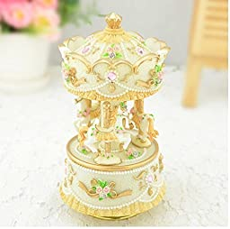 Aiskaer 3-horse Carousel Music Box,Play the Castle in the Sky Tune,best gift,Color is yellow.