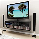 """Black 58"""" Wide Wall Mounted AV Console - Series 9 Designer Collection"""