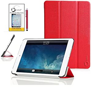 New Apple iPad mini 2 2013 / iPad mini 3 2014 (ALL Model Versions) RED Multi-Function SMART FOLIO Front & Back Case / Smart Cover / Typing & Viewing Stand / Premium Flip Case With Magnetic Sleep Sensor & Screen Protector Shield Guard & iPadMini iPad mini 3 Red Stylus Pen Accessory Accessories Pack by InventCase®