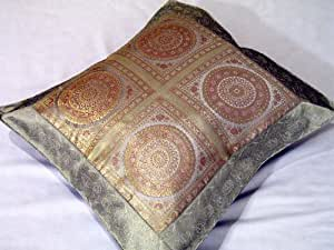 Indian Decor Brocade Floor Bed Couch Pillow Euro Sham