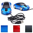 HDE Cool Sports Car Optical Mouse w/ Silver Chrome Rims (Blue)