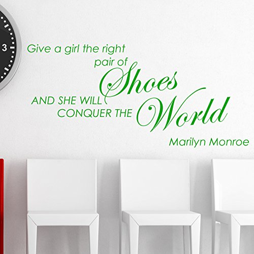 GIVE A GIRL THE RIGHT PAIR OF SHOES MARILYN MONROE WALL STICKER... Words/QuotesAdesivi da parete / decalcomanie / trasferimenti / adesivi murali