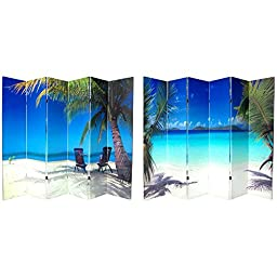 Oriental Furniture 6 ft. Tall Double Sided Ocean Canvas Room Divider 6 Panel