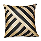 OBLIQUE DESIGN CUSHION COVER BLACK & BEIGE 1 PC (40 X 40 CMS)