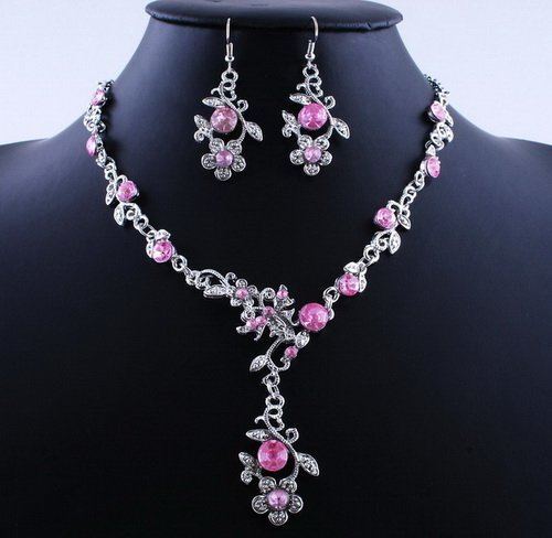 Hot Flower Wedding Party Alloy Acrylic Necklace Earring sets Pink