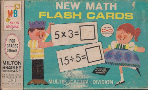 NEW MATH FLASH CARDS - DIVISION- , Classic 1965 Milton Bradley set in box,, 100 different problems - 1