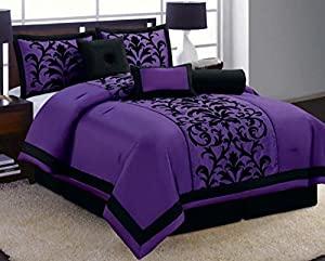 8 Piece Luxury Black and Purple Comforter Set Donna Bed in a Bag New Queen