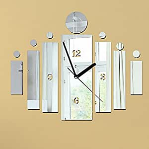 Diy Wall Clock Made Of Acrylic Material Rectangles Looks Like Mirror Modern