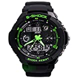 Nimble House Green dial Sport Quartz dual time digital analog Waterproof Military Wristwatches