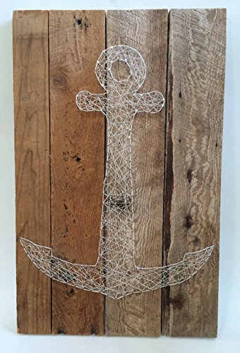 Reclaimed wooden string art anchor. A unique nautical gift for Father's Day, Birthdays, Weddings, Anniversaries, House warming and Christmas. A great gift for sailors and beach cottages!