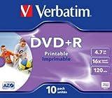 Verbatim DVD+R 16X Inkjet Print Pack of 10 43508