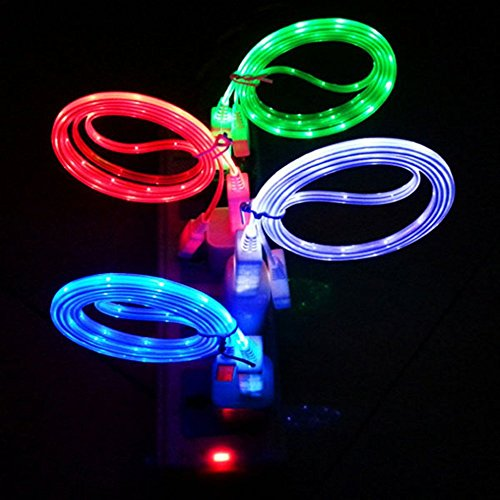 MI-PRO 1 YEAR WARRANTY! 4 PECES IPHONE 6,IPHONE 6 PLUS,Phone 5 LED Charger, Light Up Charging Cable Luminescent Visible Smart Charger & Sync Cable for Apple iPhone 5 5S 5C IPHONE 6 (Lighted Car Charger compare prices)