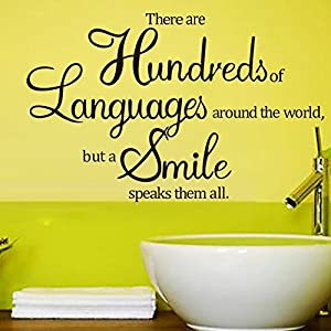 Tarmader There Are Hundreds of Languages Around The World, But A Smile Speaks Them All Home Vinyl Wall Quotes Decals Sayings Art