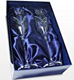 Personalised Engraved Glass - Hand Cut Heart Flutes with Swarovski Elements and Heart Design - Presented in a Silk Lined Gift Box making the 'Perfect Gift'