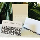 """50 DAMASK THEMED THANK YOU CARDS 4""""x6"""" size, quality cardstock, black/white/silver colors, Hand-write your names/message. Works for wedding, anniversary, baby shower or any party/event"""