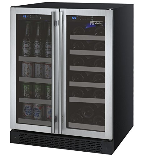 Big Save! Allavino VSWB-2SSFN - 2 Door Wine Refrigerator/Beverage Center - SS Doors with Towel Bar H...
