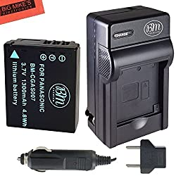 CGA-S007 Battery and Battery Charger for Panasonic DMC-TZ1 DMC-TZ2 DMC-TZ3 DMC-TZ4 DMC-TZ5 DMC-TZ11 DMC-TZ15 DMC-TZ50 Digital Camera + More!!