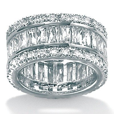 Platinum/Silver Cubic Zirconia Eternity Ring Size: 10