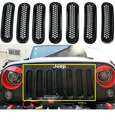 Sunroadway® Black Front Grill Mesh Grille Insert Kit For Jeep Wrangler Rubicon Sahara Jk 2007-2015 7PC (Grill Cover Insert compare prices)