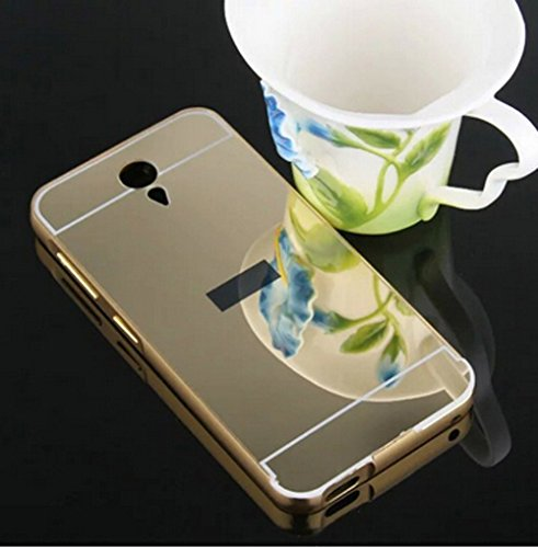 D-kandy Luxury Aluminium Bumper With Mirror Acrylic Back Cover For Htc Desire 620 620G - GOLD