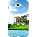 For Samsung Galaxy Note N7000 :: Samsung Galaxy Note I9220 :: Samsung Galaxy Note 1 :: Samsung Galaxy Note GT-N7000 House On Blue Sky ( House On Blue Sky, Nature, House, River ) Printed Designer Back Case Cover By FashionCops