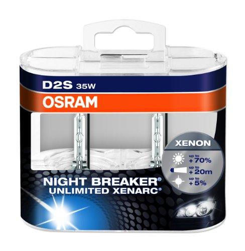 OSRAM XENARC NIGHT BREAKER UNLIMITED D2S Lampada per proiettori allo Xeno 66240XNB-HCB 70% di luce in più - confezione Duobox