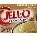 Jell-O Cook and Serve Pudding and Pie Filling, Coconut, 3-Ounce Boxes (Pack of 6)